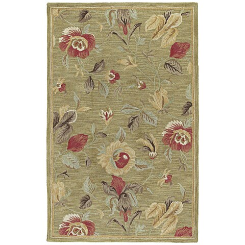 """Lawrence Light Olive Floral Hand-Tufted Wool Rug (9'6 x 13'0) - 9'6"""" x 13'"""
