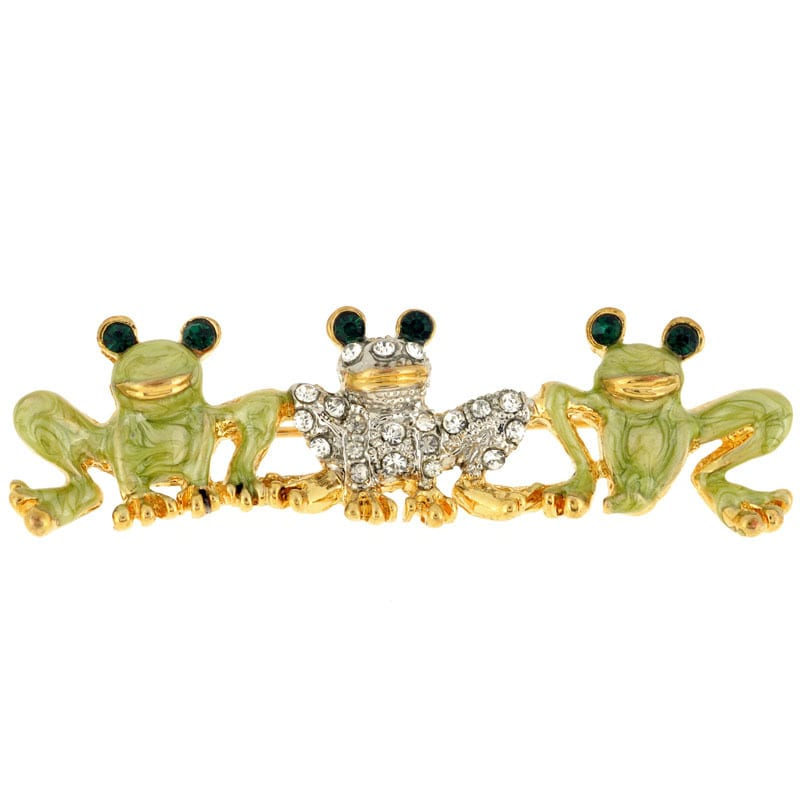 Frog Family Crystal Animal Pin Brooch (Triple Frpgs Pin),...