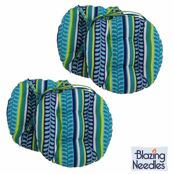 blazing needles patterned 16 x 16inch round outdoor chair cushions set of 4