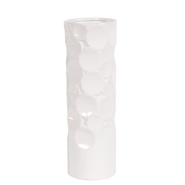 Glossy White Small Hammered Ceramic Cylinder Vase