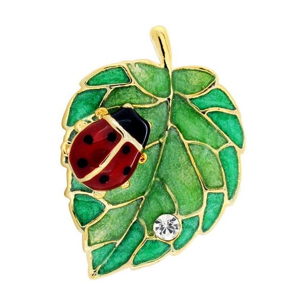 Ladybug And Green Leaf Lapel Pin