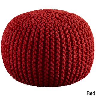 Porch & Den Myers Hand-knitted Cotton Pouf
