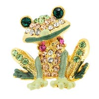 Green Frog Crystal Lapel Pin