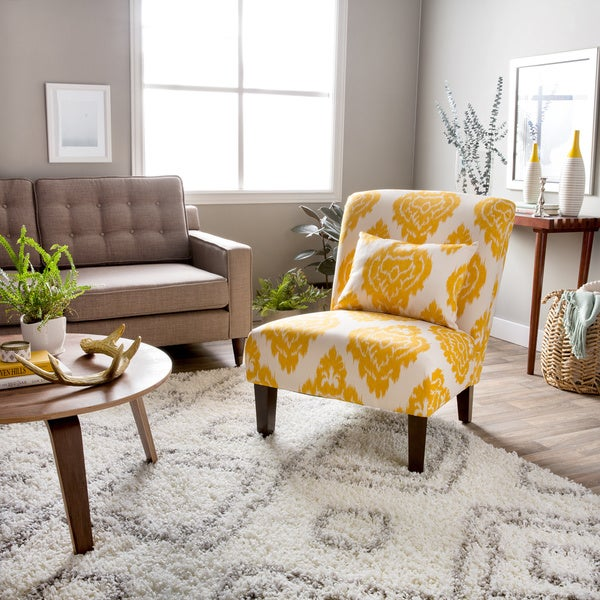 Shop Anna Yellow Ikat Accent Chair Free Shipping Today