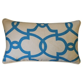 Dean Creme and Turquoise Throw Pillow