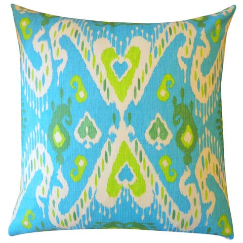 Jiti Multi-color Classic Ikat Cotton Accent Pillow - 24 x 24