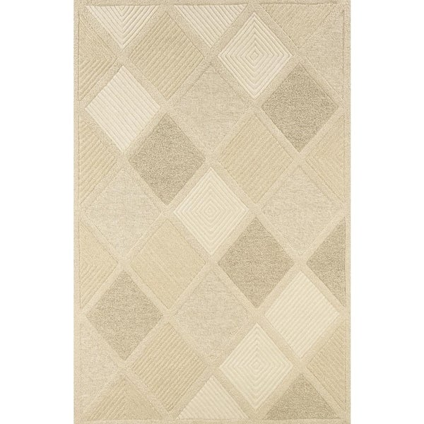 "Hand-Crafted Barlow Diamonds White/Tan Area Rug - 5'6"" x 8'"
