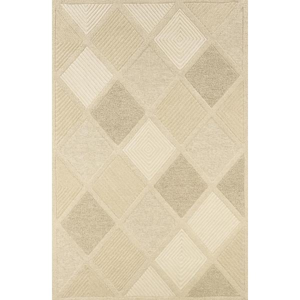 Hand-Crafted Barlow Diamonds White/Tan Area Rug - 8' x 11'
