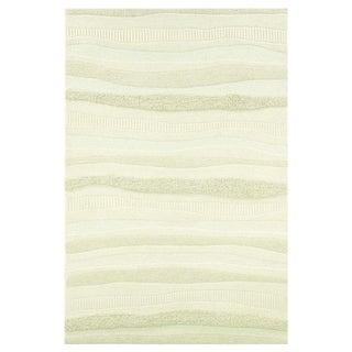 Couristan Super Indo-Natural Impressions Stripe White Wool Area Rug - 5'6 x 8'