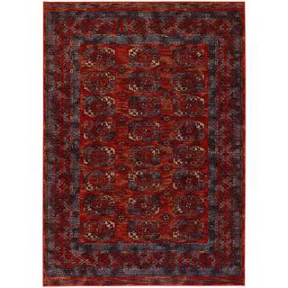 Timeless Treasures Panel Rust Afghan Rug (5'3 x 7'6)