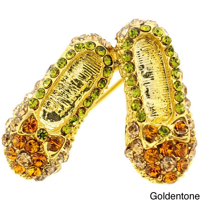 Multicolor Flat Pin Crystal Shoes Brooch Pin (Goldentone ...