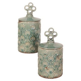 Sea Blue Rustic Textured Ceramic Jars with Lids (Set of 2)