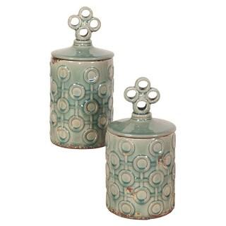 Sea Blue Rustic Textured Ceramic Jars with Lids (Set of 2)