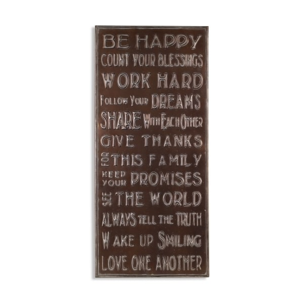 Shop Elements \'Be Happy\' Metal Wall Decor - Free Shipping On Orders ...