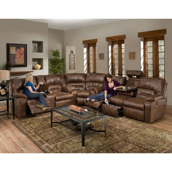 Dakota Motion Brown Faux Leather 3-piece Sectional Sofa
