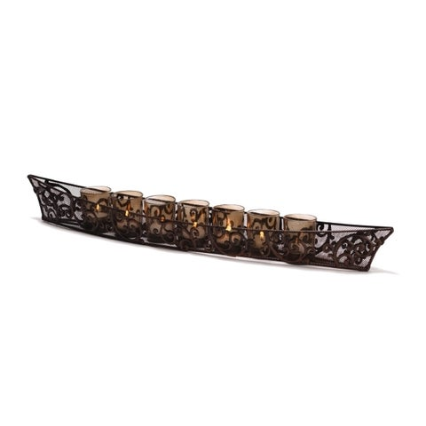 Elements Bronze Metal Finish Linear Candle Holder