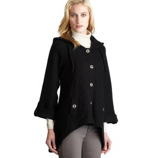 For Cynthia Black Two Pocket Hooded Hi-Lo Wool Coat
