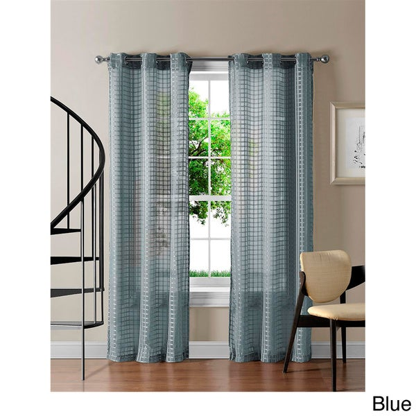 VCNY Jacob Grommet Sheer Gingham 84 Inch Curtain Panel Pair