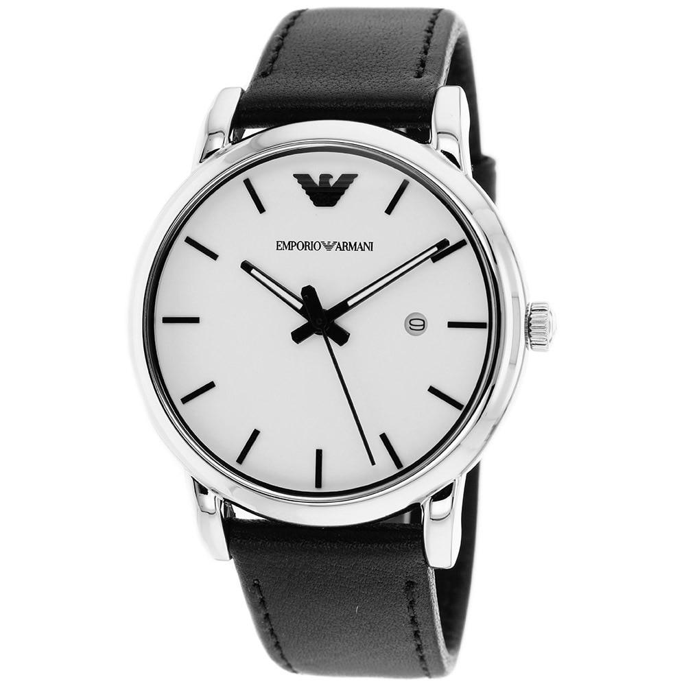ceb6dddf9e06b Shop Emporio Armani Men's AR1694 'Classic' Black Leather Watch - Free  Shipping Today - Overstock - 8571420
