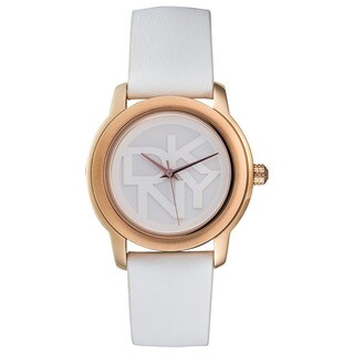 DKNY Women's White Leather-strap Watch
