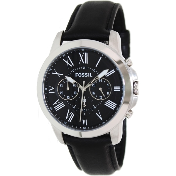6c0e0b7618d Shop Fossil Men s  Grant  Leather Strap Watch - Black - Free ...