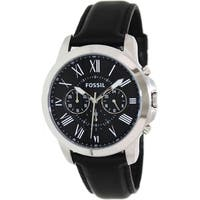 Fossil Men's 'Grant' Leather Strap Watch - black