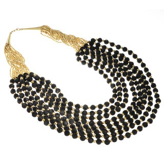 Haya Gold and Black Felt Bead Fashion Handmade Necklace (India)