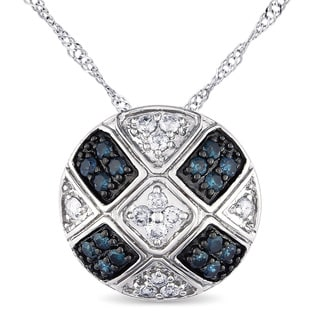 Miadora 14k White Gold 1 4ct TDW Blue And White Diamond Necklace