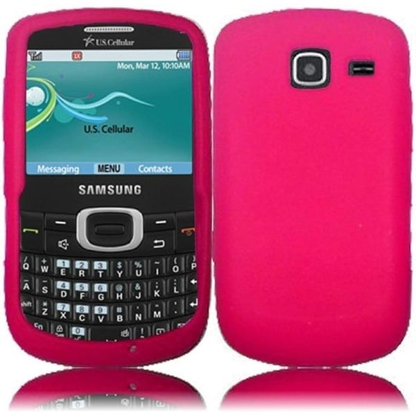 INSTEN Hot Pink Soft Silicone Phone Case Cover for Samsung Freeform 4 R390/ Comment 2