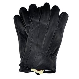 Samtee Ladies Black Leather Glove with Elastic on Wrist