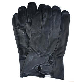 Samtee Men's Black Leather Gloves with Snap Closure