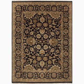 Hand Woven Black And Tan Leather Chindi Rug 8 X 10
