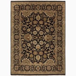 Hand-Made Oriental Pattern Black/ Tan Wool Rug (9x12)