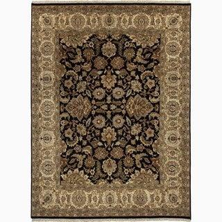 Hand-Made Oriental Pattern Black/ Tan Wool Rug (6x9)