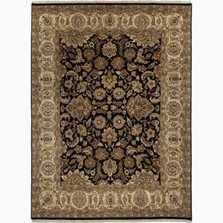 Handmade Oriental-pattern Black/ Tan Wool Area Rug (8x10)