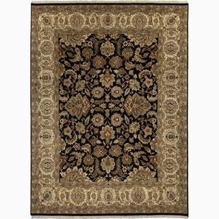 Handmade Oriental Pattern Black/ Tan Wool Rug (10 x 14)
