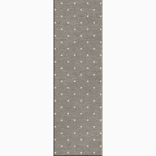 Shop Hand Made Geometric Pattern Gray Ivory Wool Rug 2