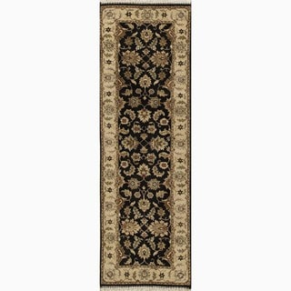 """Hand-Knotted Oriental Black Area Rug (2'6"""" X 10')"""