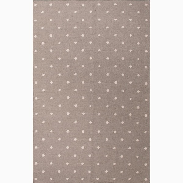 Hand-Made Geometric Pattern Gray/ Ivory Wool Rug (9x12)