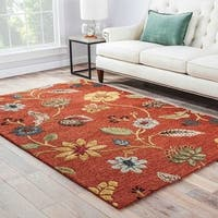 Bloomsbury Handmade Floral Red/ Multicolor Area Rug (9' X 12')