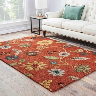"Bloomsbury Handmade Floral Red/ Multicolor Area Rug (8' X 10') - 7'10"" x 9'10"""