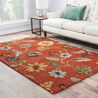 Hand-Made Floral Pattern Red/ Multi Wool/ Art Silk Rug (8x10)