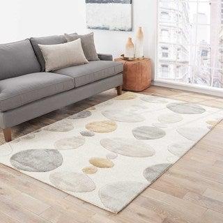 Hand-Made Ivory/ Gray Wool/ Art Silk Plush Pile Rug (8x10)