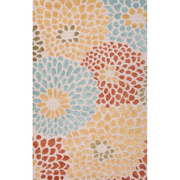 Handmade Ivory/ Red Wool/ Art Silk Plush Pile Rug (9 x 12)
