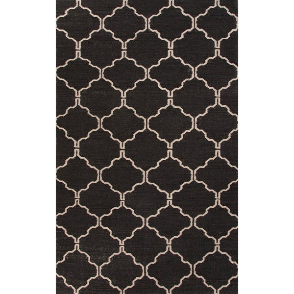 Handmade Geometric Black Area Rug - 5' x 8'