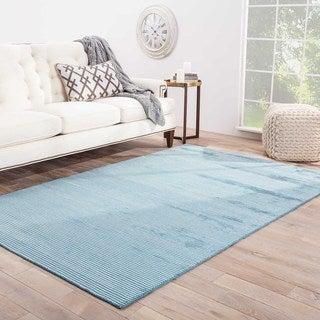 Hand-Made Solid Pattern Blue Wool/ Art Silk Rug (9x12)
