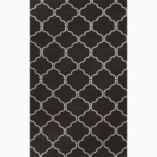 Handmade Geometric Black Area Rug - 2' x 3'