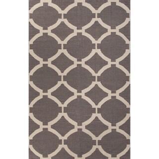 Handmade Geometric Pattern Gray/ Ivory Wool Area Rug (8' x 10')