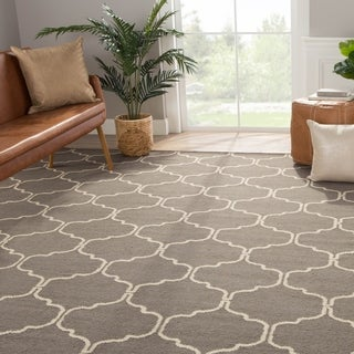 Handmade Moroccan Pattern Gray/ Ivory Wool Rug (5 x 8)