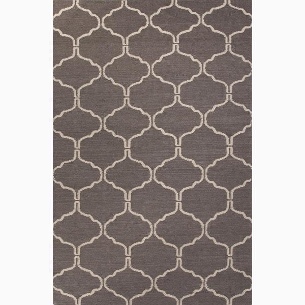Handmade Geometric Gray/ Silver Area Rug (9' X 12') - 9' x 12'
